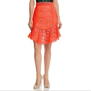 Alice + Olivia Neon Lace Fit & Flare Skirt
